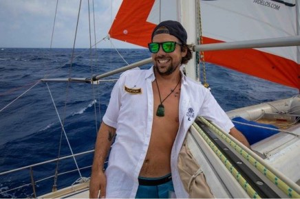 SV Delos crew member crossing the Atlantic sailing