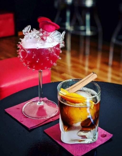 Fancy drinks at a Carrer de Santa Teresa bar in Barcelona, Spain