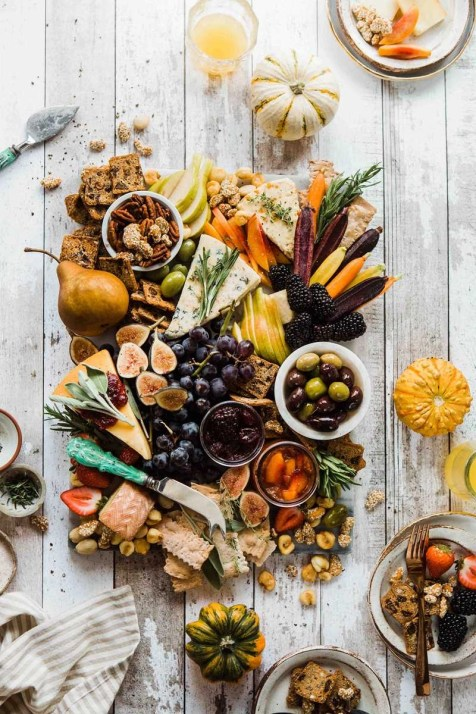 Rustic Autumn cheeseboard flat lay - Relaxing holidays near home