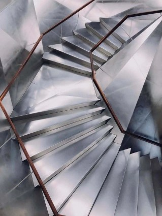 Caixaforum steel stairs in Madrid, Spain