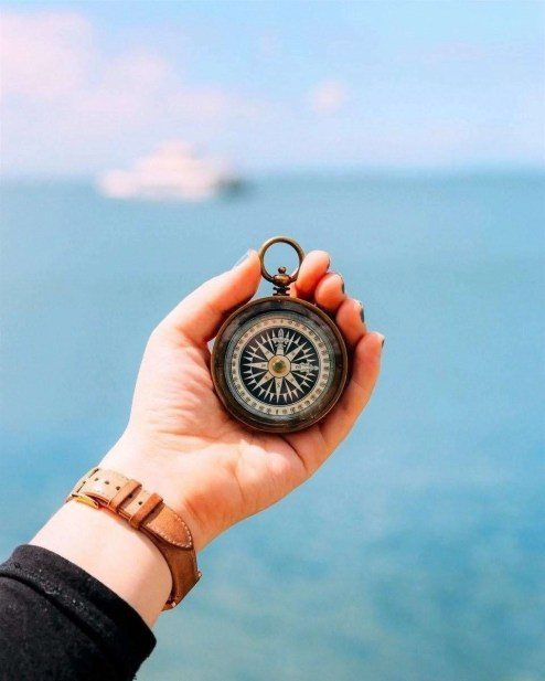 Compass in front of the sea and a cruise ship in the horizon