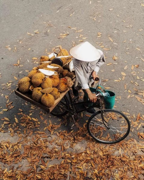 Man with a bike selling durian fruit in a Hanoi street