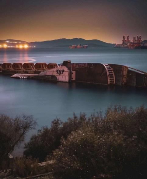 Sunken ship in Eleusina, Athens, Greece