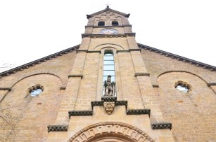 The façade of a church in the Mullerthal Trail - Luxembourg