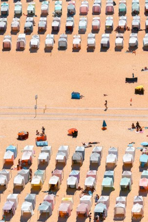 Bathing tents in Nazare beach as seen from above