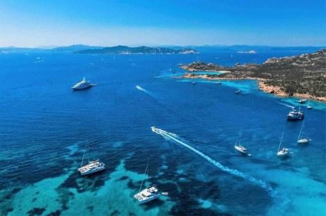 Busy day at a Sardinian bay