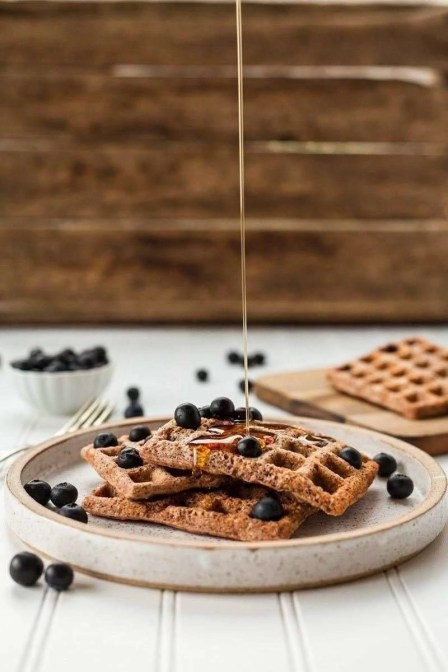 gluten free waffles on a white plate