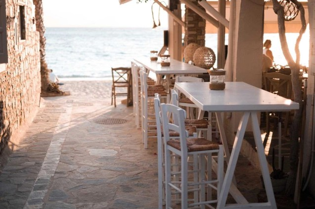 Restaurant by the sea in Naxos island, Greece