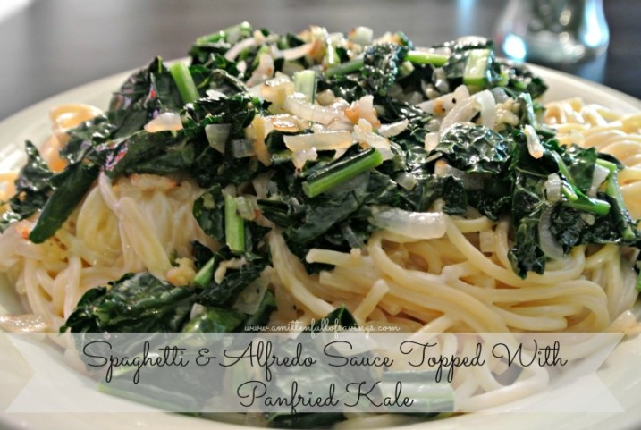 Recipe: Spaghetti & Alfredo Sauce Topped With Panfried Kale -
