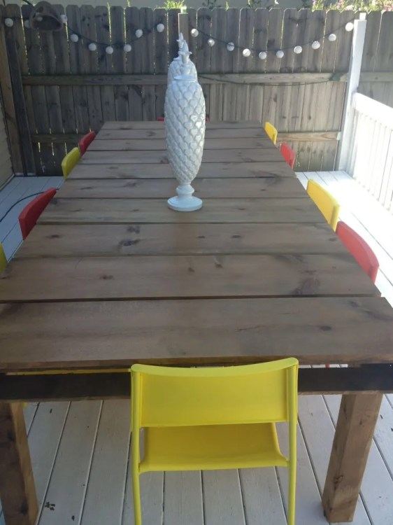 outdoor dining table with red chairs