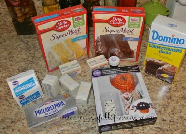 ingredients for monster four legged cupcake