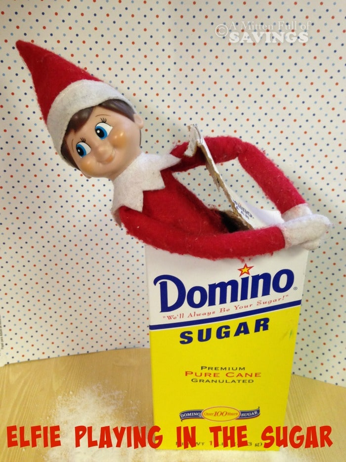 Elf on The Shelf Ideas: Elfie Playing in the Sugar