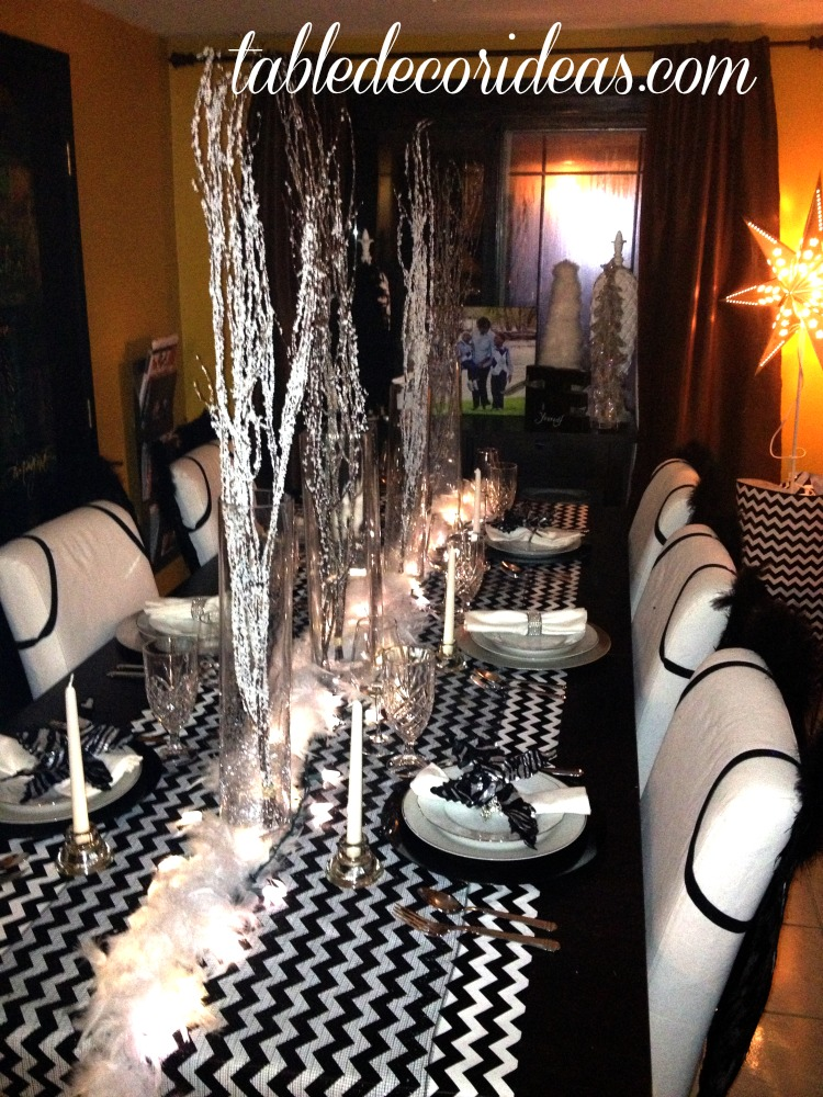 Black And White Christmas Party Ideas Part - 43: Black And White Chevron Theme Great Christmas Decor Idea Or For A Black And  White Tie