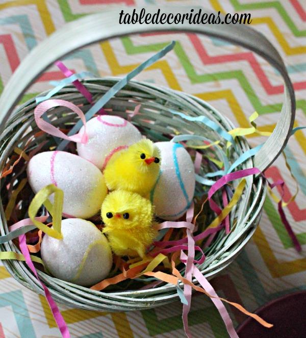 little chicks in basket