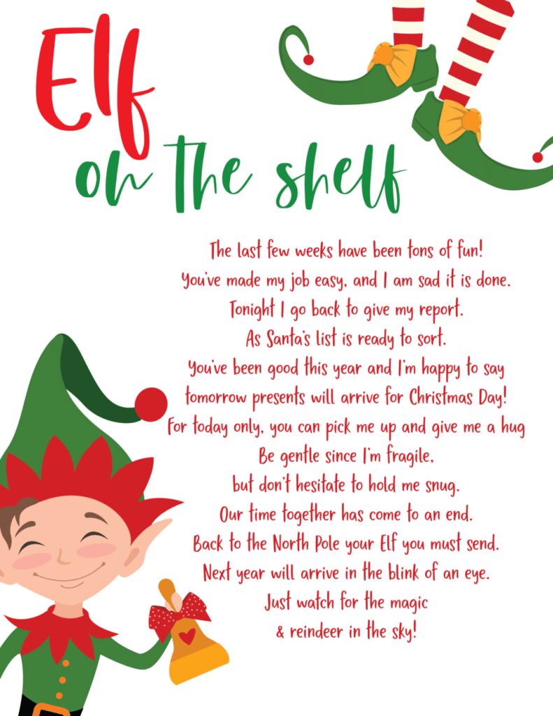 Free Elf on the Shelf goodbye printable