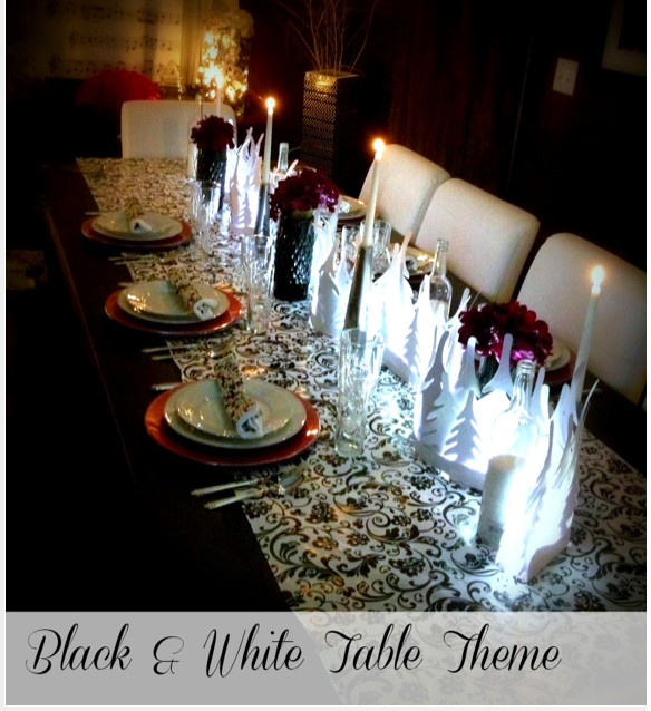 Black & White Table Decor Theme {Christmas theme ideas}