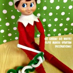 Elf on The Shelf Ideas: Go Green Go White Spartan Decor