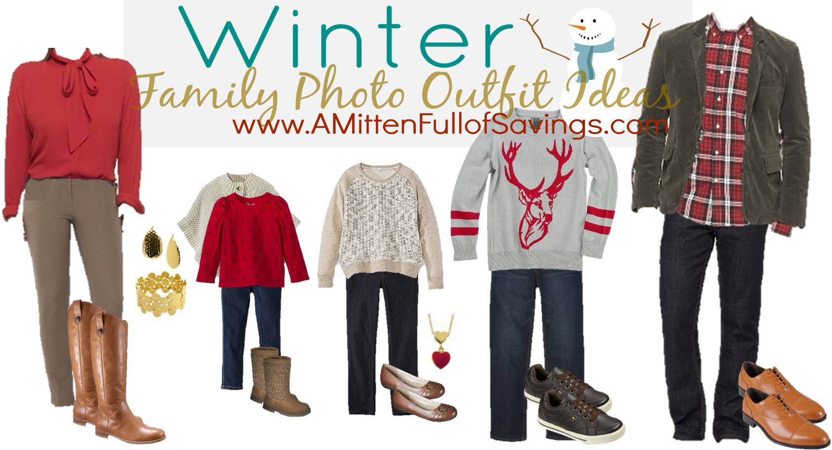 Red Brown Winter Family Photo Outfits Ideas