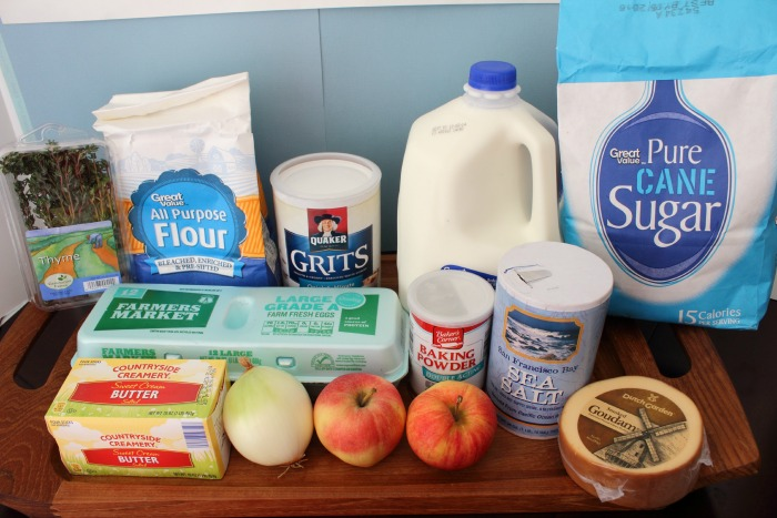 Ingredients for Easy Recipe for Caramelized Apple and Onion Grits Crostini