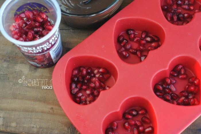 Process for Recipe for Dark Chocolate Pomegranate Hearts 