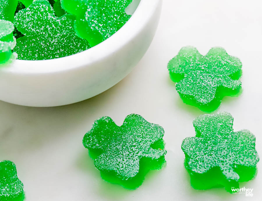 St. Patrick's Gumdrops on a white background