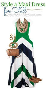 Style A Green & White Maxi Dress Pattern For Fall