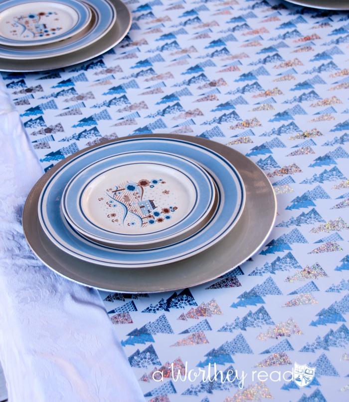Blue & White Winter Wonderland Tablescape-31
