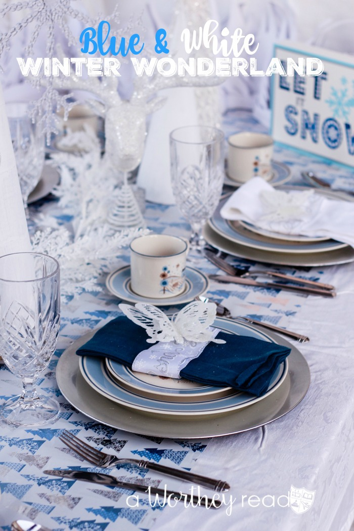 Create a beautiful Christmas Tablescape with a Blue & White Winter Wonderland Tablescape
