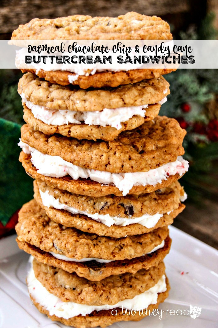 Make an easy Christmas cookie, peppermint recipe that's perfect for the Holidays- Chocolate Chip & Oatmeal Cookies with Candy Cane Buttercream
