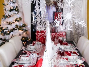 Red, White, Silver Christmas Tablescape