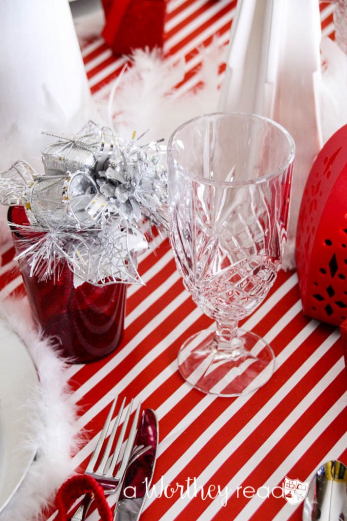 Red, White, Silver Reindeer Tablescape-25
