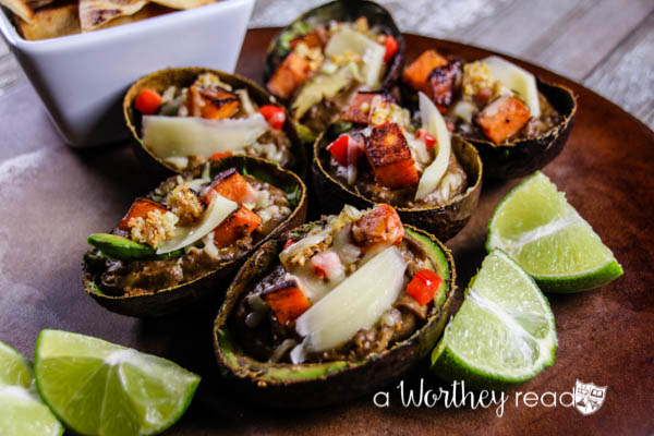 Easy appetizer for game day or a dinner party- Avocado & Sweet Potato Bake with Gruyere Cheese