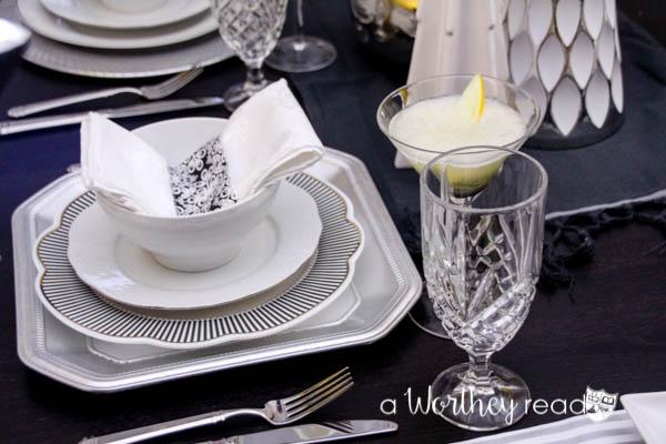 White & Silver Award Show Dinner Idea