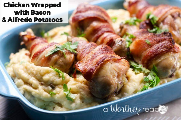 Easy and quick dinner idea that kids will love! Chicken Wrapped Bacon & Alfredo Potatoes