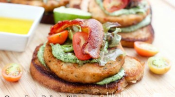 Open Face Alaskan Pollock Burgers with Bacon, Lettuce and Tomato with Lime Herb Mayo.