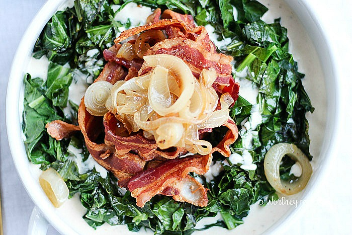 Creamy Collard Greens with Caramelized Onions & Bacon ...
