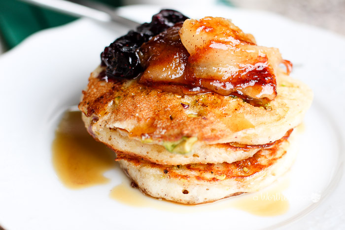 Buttermilk Pistachio with Blueberry Capote Mini Pancakes