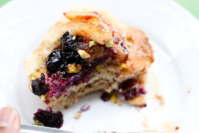 Buttermilk Pistachio with Blueberry Capote Mini Pancakes