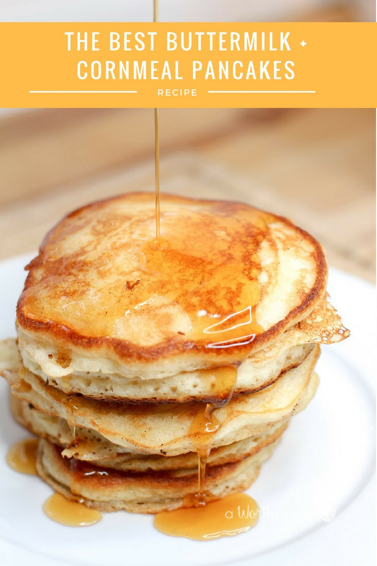 Breakfast is the best way to start the day filled with an easy pancake recipe. Try The Best Buttermilk + Cornmeal Pancakes with bourbon aged syrup!