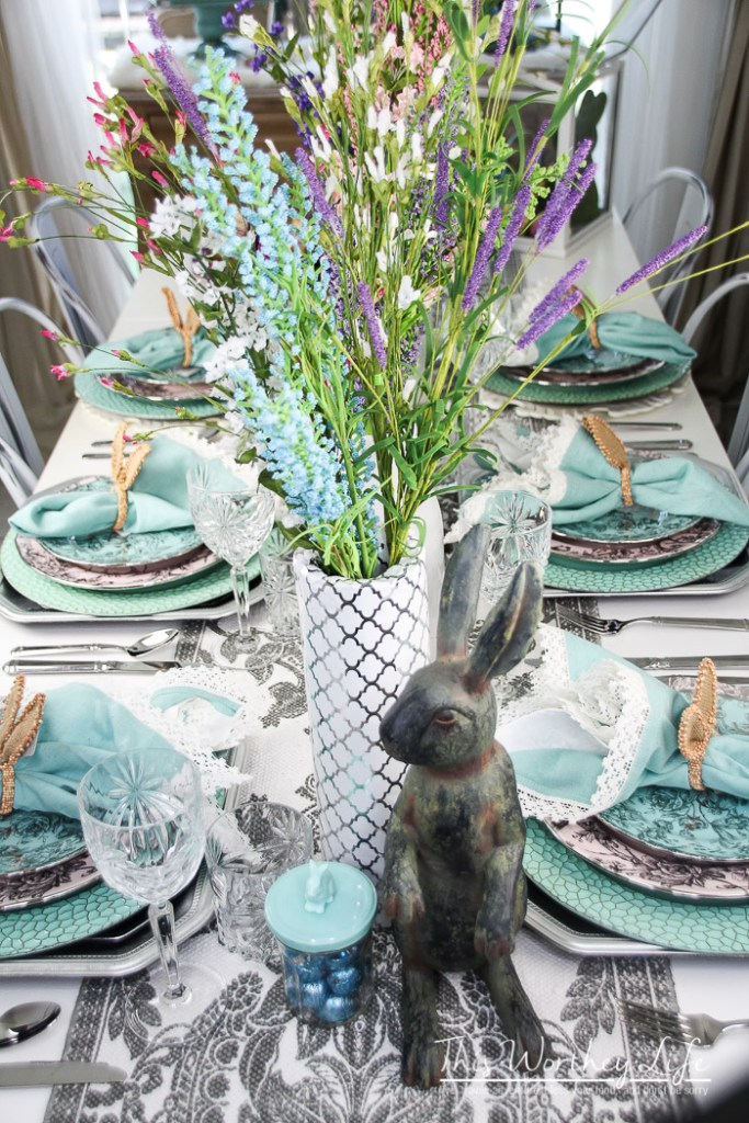 elegant easter tablescape {spring party idea} - this worthey life