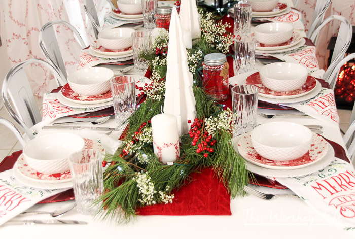 Christmas Tablescape Red U0026 White Christmas