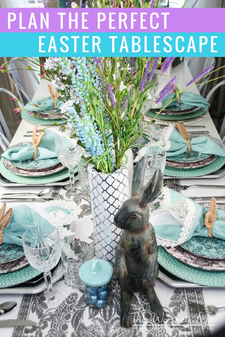 Plan the perfect Easter party with this elegant tablescape idea. Get the details on how to decorate your table for Easter!
