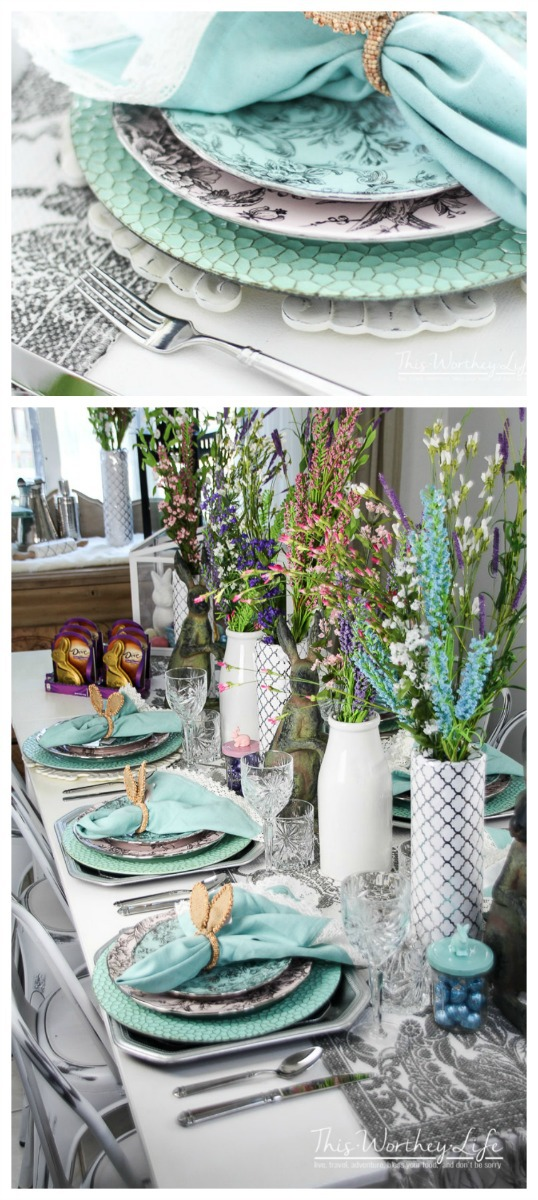Plan the perfect Spring party with this elegant tablescape idea. Get the details on how to decorate your table for Spring. This is also a wedding tablescape idea on a budget!