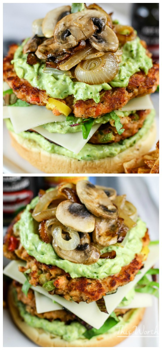 Spice up your regular Salmon recipe with our Double Salmon Burger w- Avocado Mayo + Caramelized Onions and Mushrooms This Salmon burger is perfect for summer entertainment, summer pool parties, game day and more! Plus, homemade fries, a recipe for avocado mayo and El Yucateco hot sauce makes this sandwich a winner!