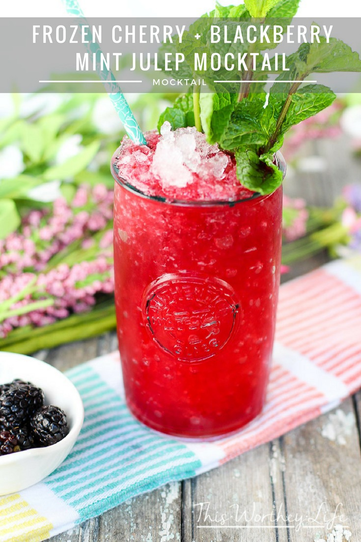 Our version of the frozen cherry + blackberry mint julep is a copycat to the original recipe from Oak Alley Plantation. Try this frozen mason jar drink this summer!