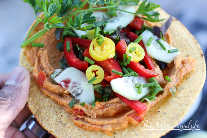 Super quick, unbelievably easy and more flavor you know what to do with our Vegan Veggie Hummus Tostadas are the way to go for a quick meal or healthy snack.
