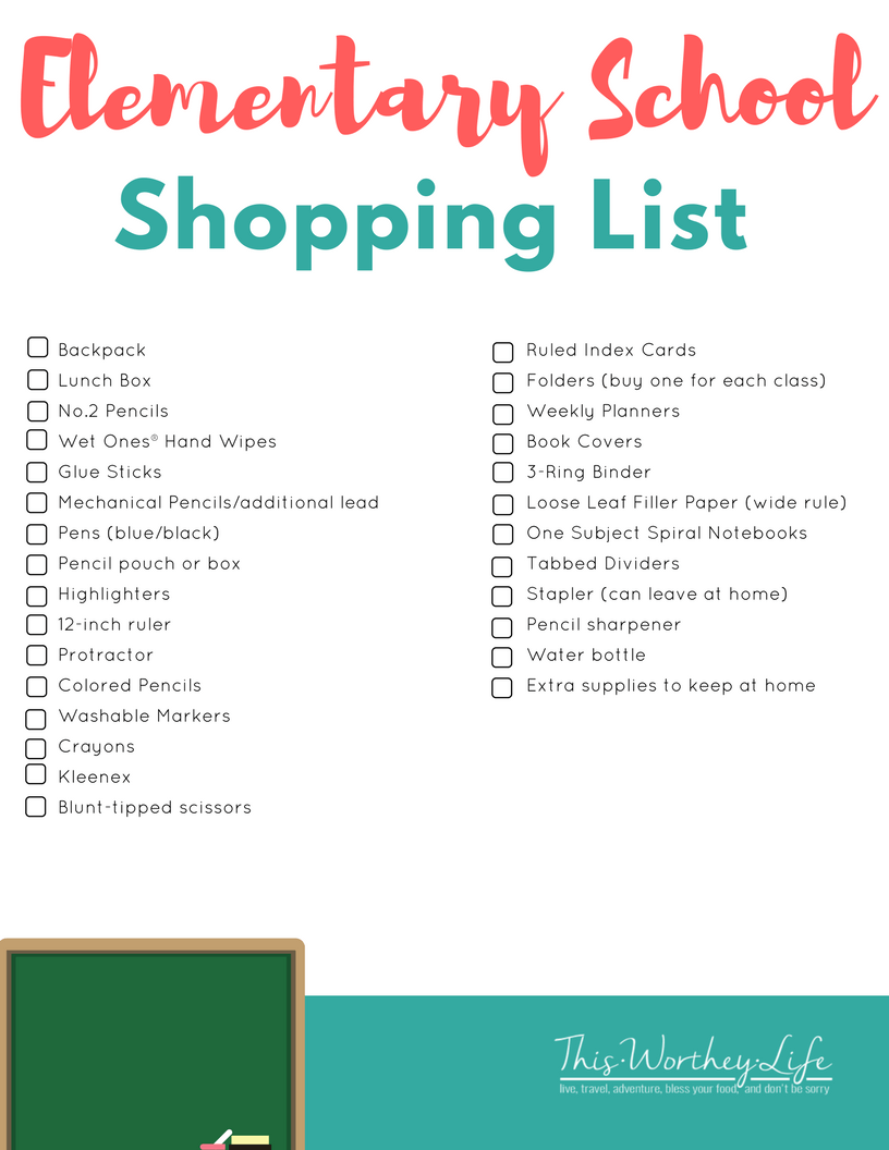 Back To School Shopping List for Elementary School Students. Download our FREE printable on what kids will need for school!