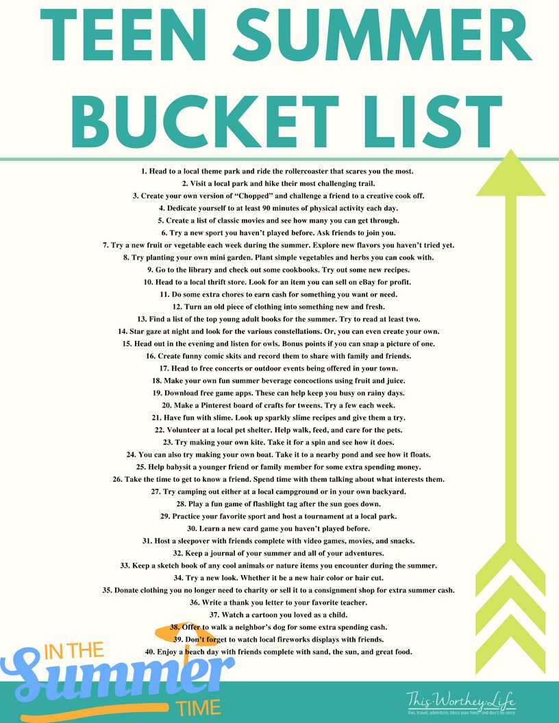 Summer is here, and the kids are out of school. Here's a list of things for teens to do over the summer. Check out our ultimate summer bucket list for teens, which includes a free printable of teen activities! I'm sure your teen will find a thing or two to do on this list over the summer!