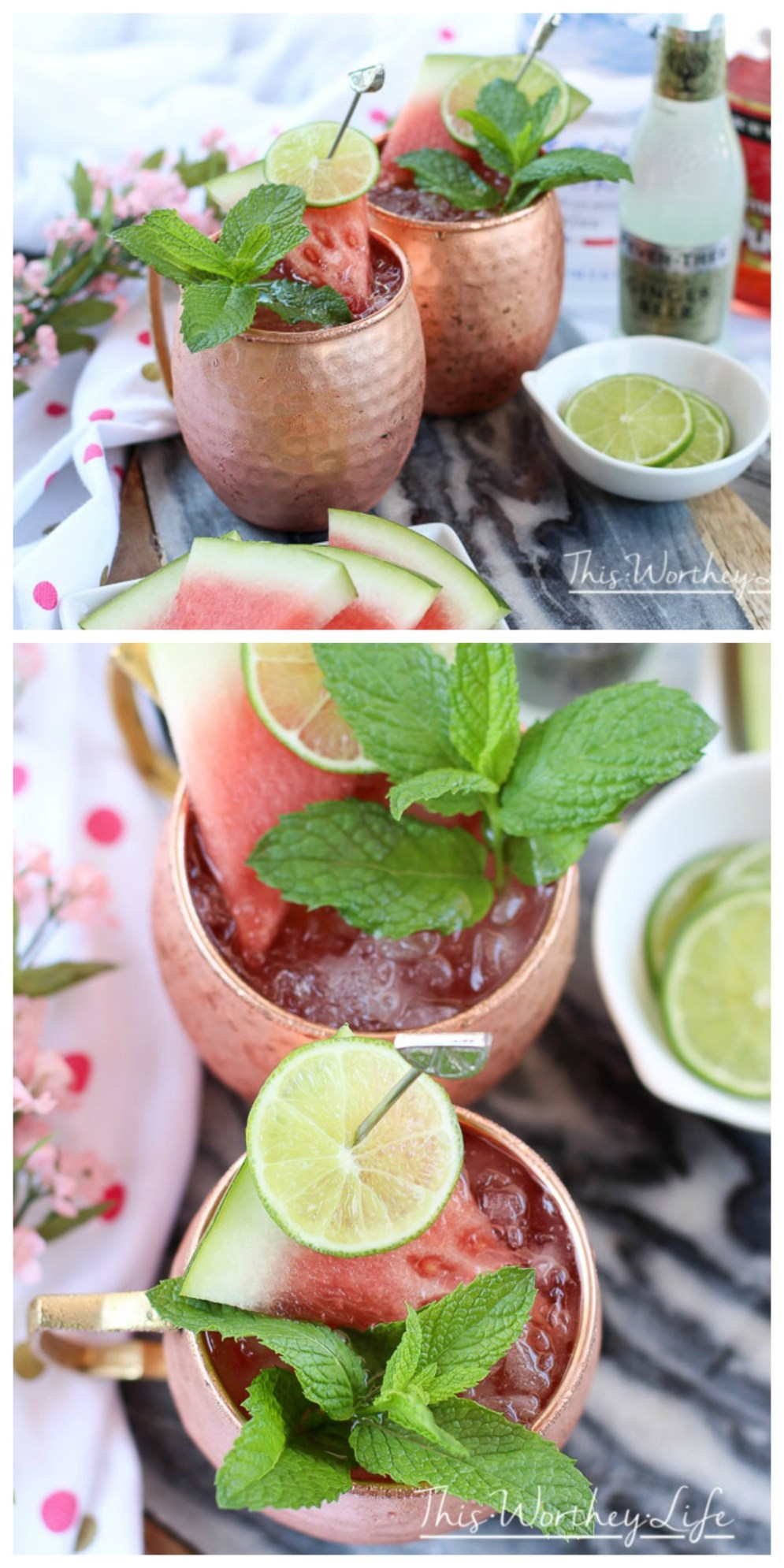 Take your classic Moscow Mule recipe, and put a twist on it with watermelon. This Watermelon Moscow Mule is flavored with Grey Goose Vodka, ginger beer, watermelon, and watermelon pucker. Keep reading to get this summer cocktail recipe on the blog!