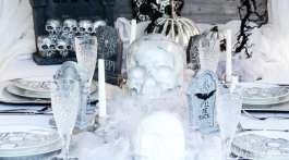 Grey & White Skeleton Graveyard Tablescape